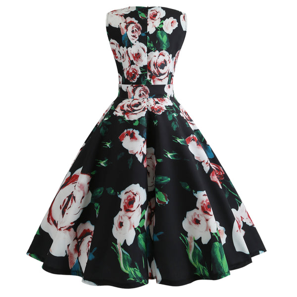 Retro Floral Print Fit and Flare Swing Dress