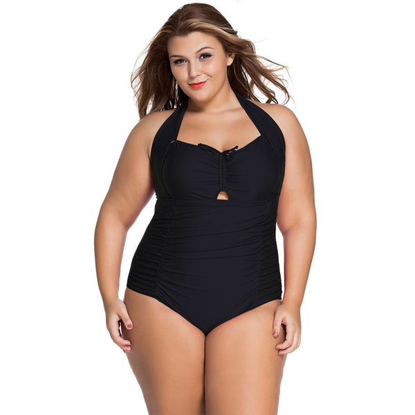 Swimwear new bikini hanging neck sexy gathered XL one-piece swimsuit