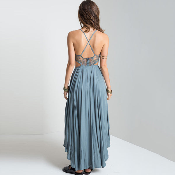 Bohemian openwork backless dress holiday dress
