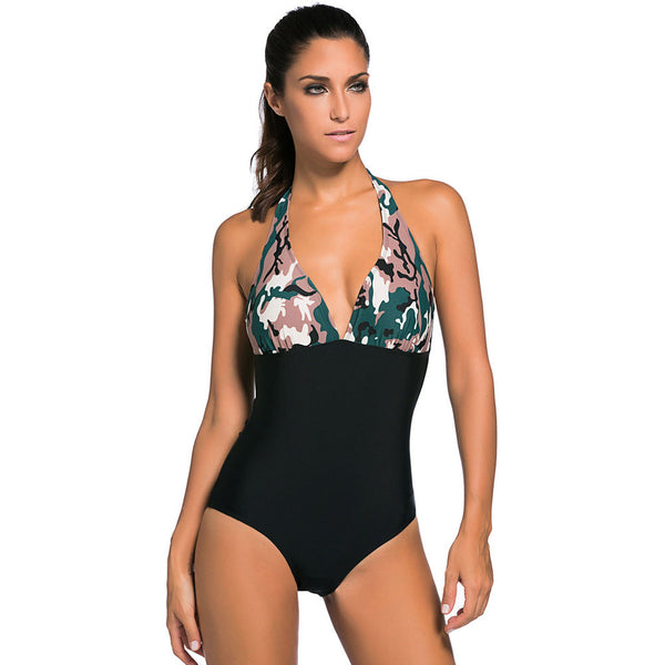 New large size swimwear halter vest camouflage printed high waist sexy one-piece swimsuit