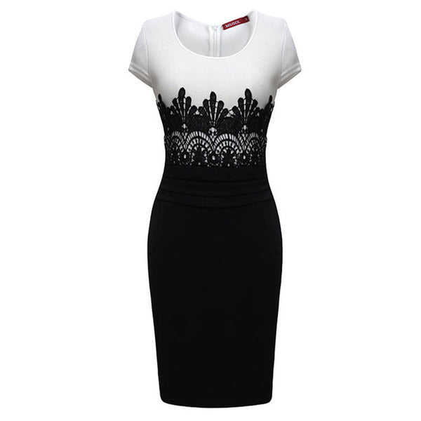 Stitching lace dress evening dress