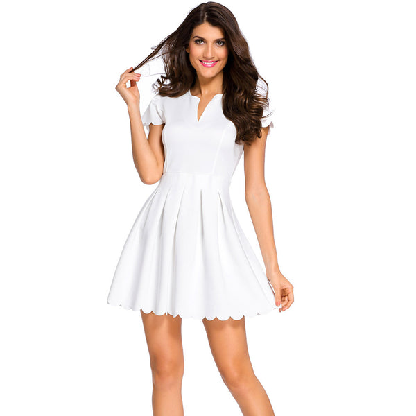 New sweet style fashion party collar short sleeve pleated dress