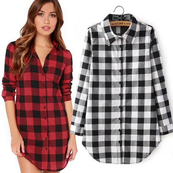 2018 new women's red plaid lapel long sleeves long women's