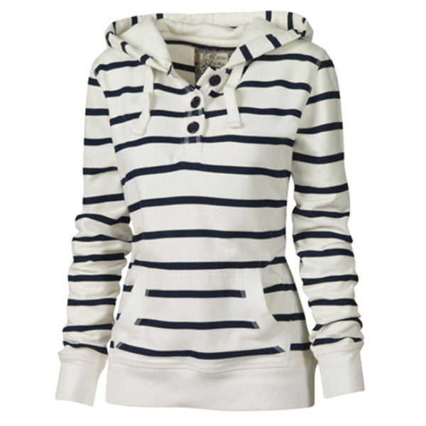Decorative striped top long sleeve hooded sweater