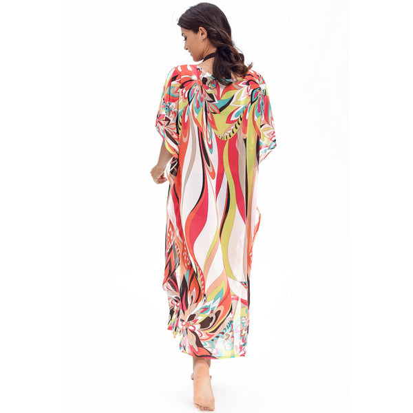 Turkish robes fashion art colorful prints charming chiffon beach skirt