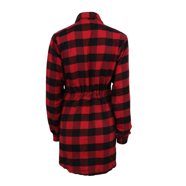 2018 hot women's single-breasted long section waist long sleeve checkered shirt dress