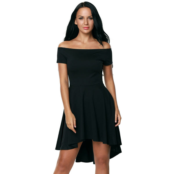 Fashion sexy collar short sleeve short short dress long skirt dress