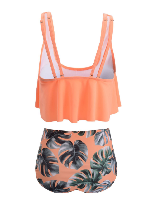 Scoop Neck and Floral Print Plus Size Tankini Set