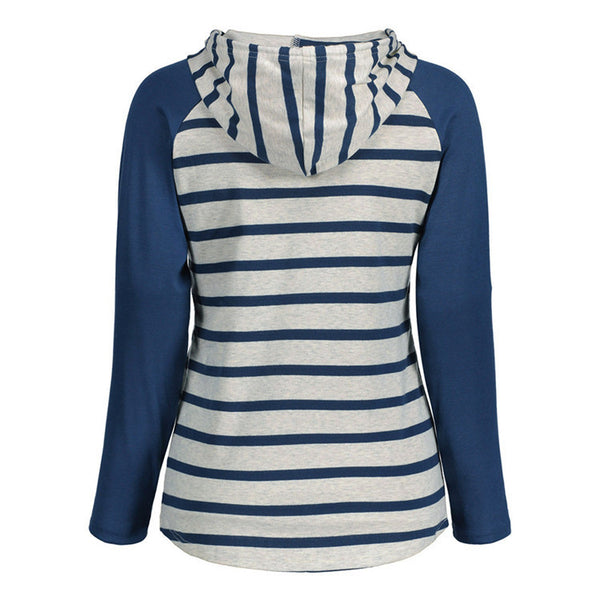 2018 new summer blue striped pocket v-neck hooded long-sleeved t-shirt female