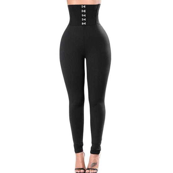 New fashion sexy black high waist corset design tight leggings