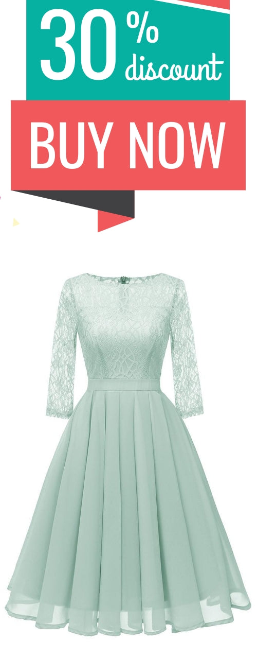 Lace Panel Pleated A Line Dress