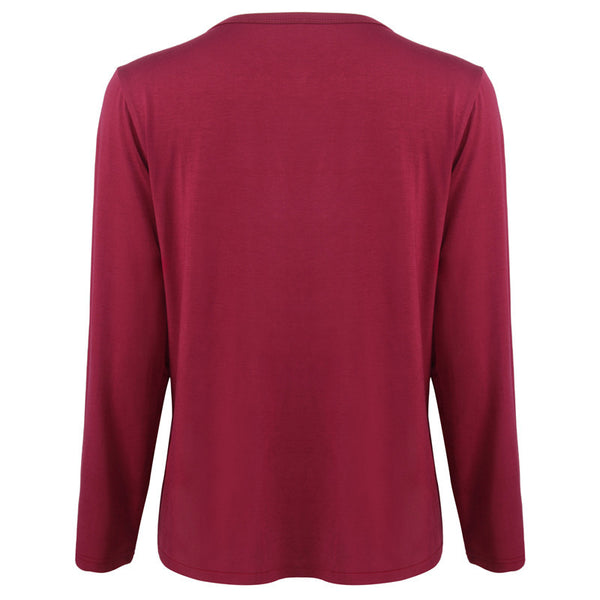 2018 new women's shirt v-neck stitching long-sleeved t-shirt solid color