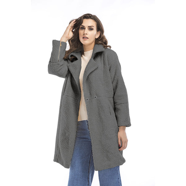 2017 new women's long sleeve long coat
