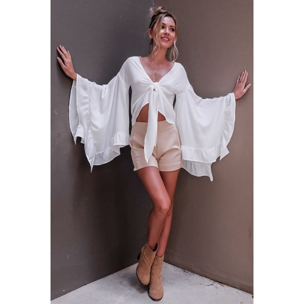Chiffon shirt female summer strap v-neck flared sleeve navel shirt