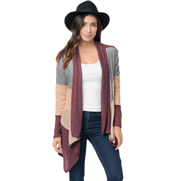 New large size cardigan sweater shawl hit color long-sleeved women's sweater
