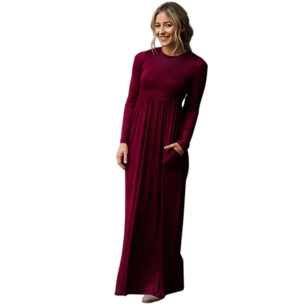 New round neck long sleeve with pocket high waist long size dress