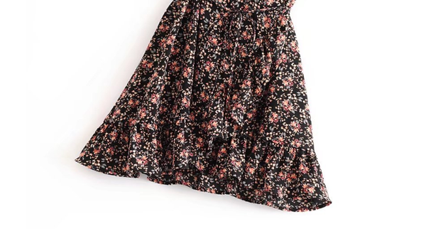 Floral Belted Drawstring Mini Dress