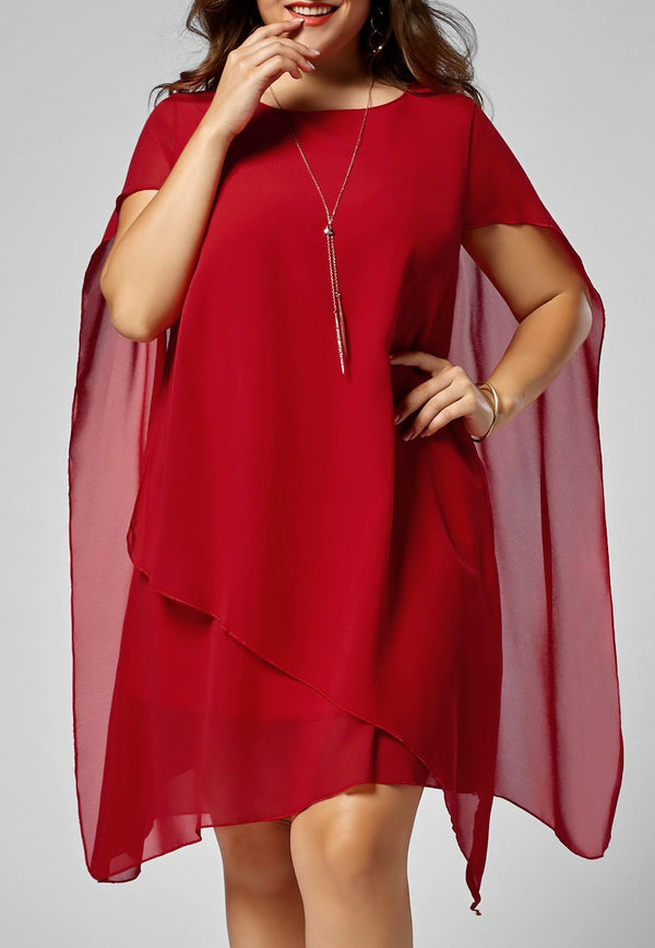 Plus Size Appliqued Longline Blouse With Cape