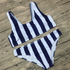 U Neck Striped Bikini Swimwear