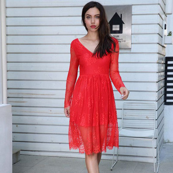 Multi-color v-neck long-sleeved slim high-rise mid-length lace holiday dress
