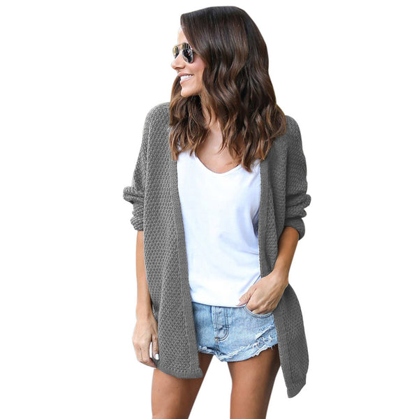 New large size knit wool cardigan slit long sleeve long sweater coat