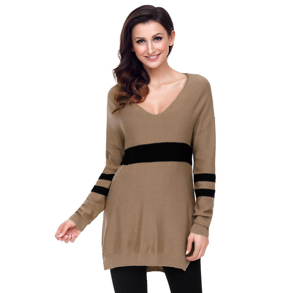 New fashion strip sexy collar long sleeve side slit long women's sweater