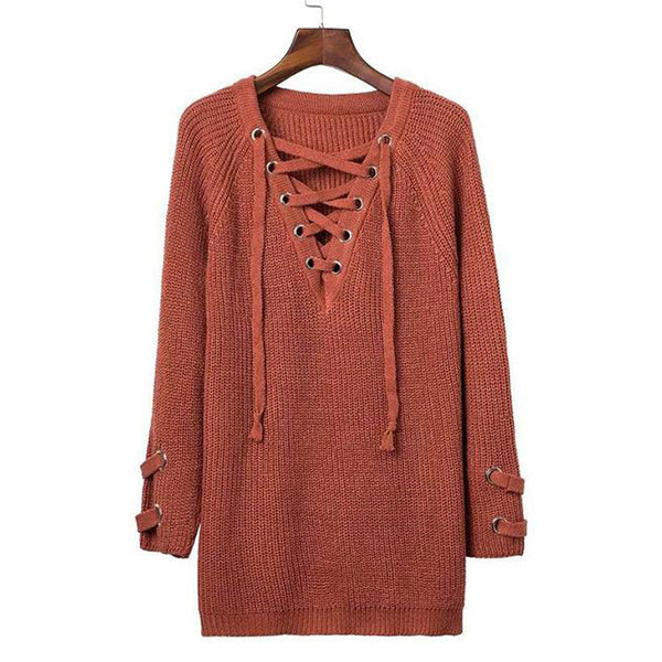Fashion chic sexy collar cross strap long sleeve knit sweater dress