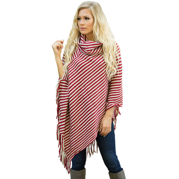 Large size shawl fashion striped high neck asymmetrical hem tassel cloak sweater