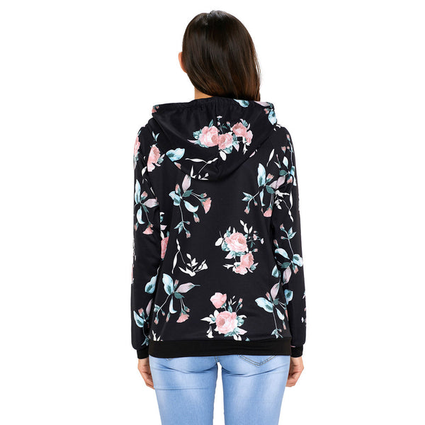 New fashion floral print hooded long-sleeved women's sweater