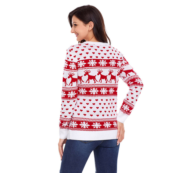 New large size round neck women's long sleeve Christmas sweater
