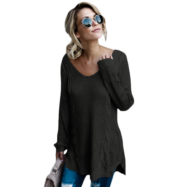 Sexy Collar Long Sleeve Back Cross Halter Large Size Women's Sweater