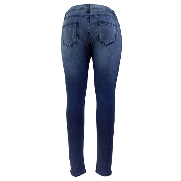 High-waist slim bag hip fashion hole tight-fitting women's jeans