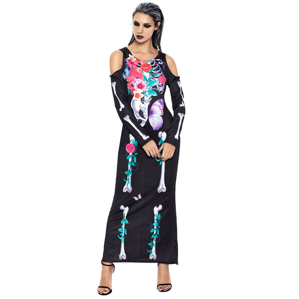 Halloween performance clothing bone print round neck long sleeves off the shoulder hollow long stage
