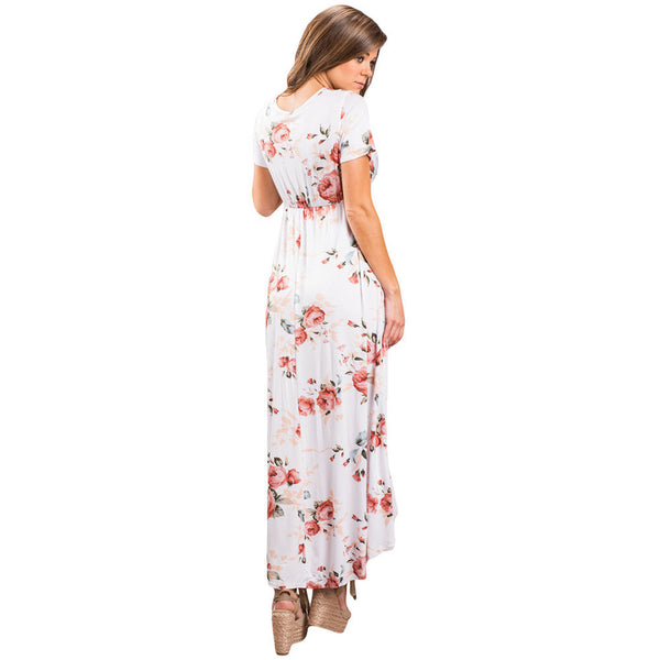 Maxi dress chic print sexy collar short sleeve irregular skirt dress