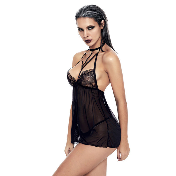 New suspender skirt high collar sexy lace stitching backless translucent fun pajamas