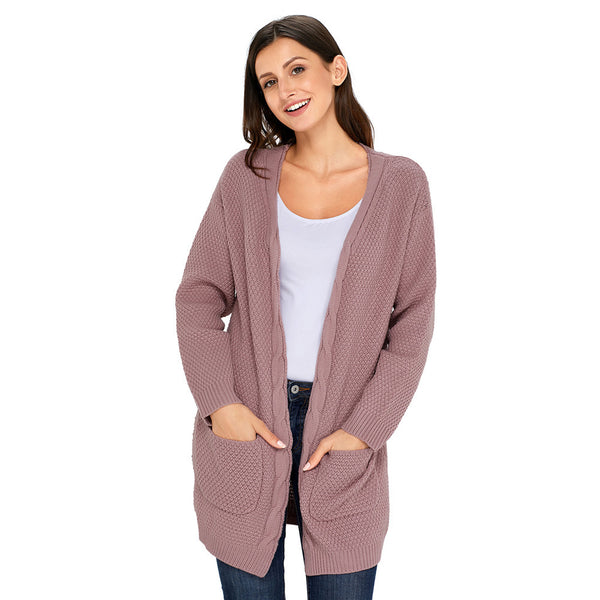 New large size sweater long sleeve cardigan pockets in the long women's sweater