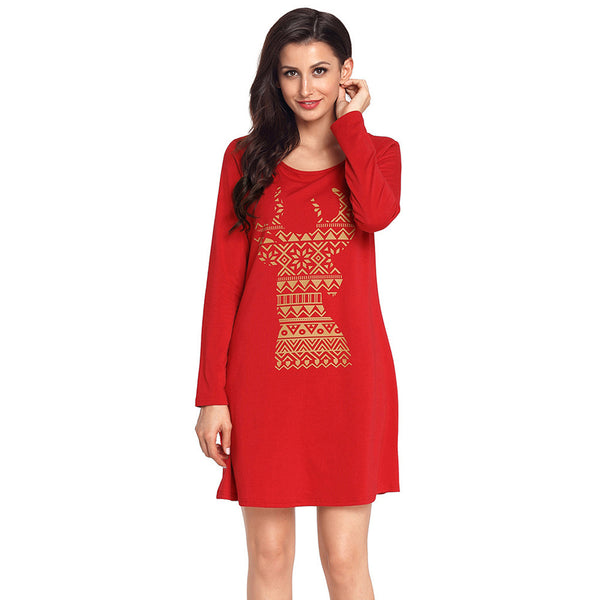 Unique Geometry Snowflake Christmas Reindeer Round Neck Long Sleeve XL Women's Dress