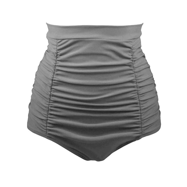 New Swimwear Vacation Bikini Retro High Waist Chic Pleated Swim Shorts