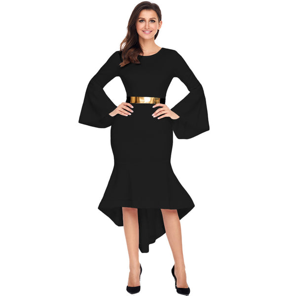 Maxi dress sexy round neck trumpet sleeves high waist irregular skirt women's dress