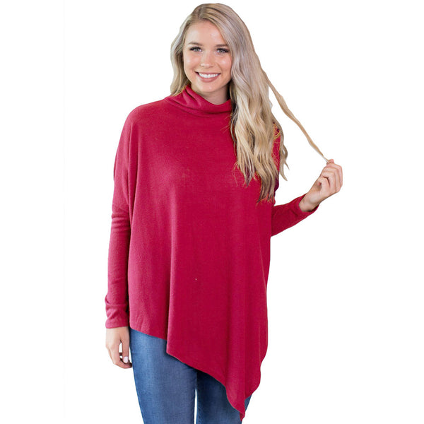 Large size sweater long sleeve irregular dress in the long section women's turtleneck sweater