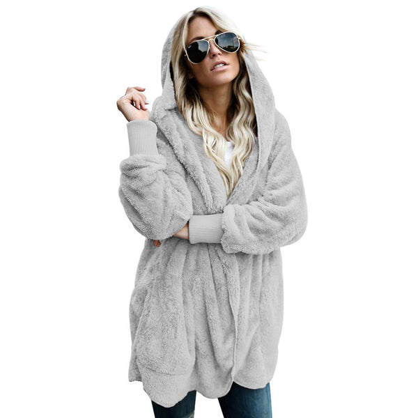 Winter new hooded card long-sleeved plush cardigan XL women's tops