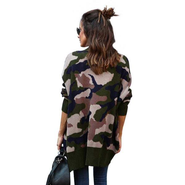 New large size knitwear camouflage long sleeve pocket women's sweater