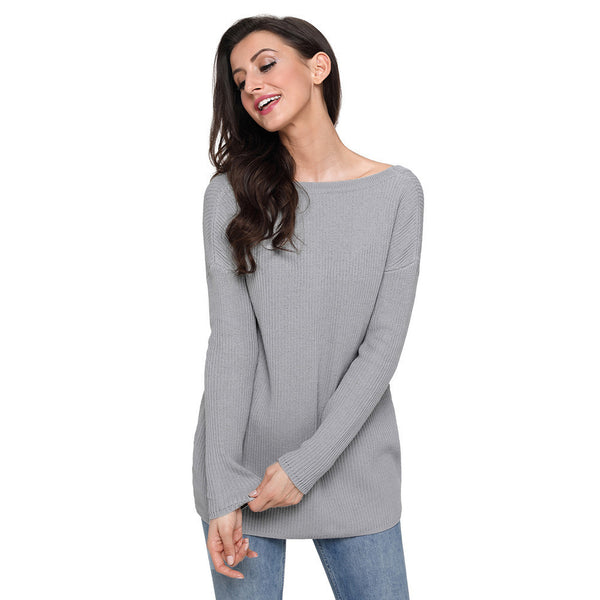 Winter new sexy round neck cross with long sleeves plus size women's sweater