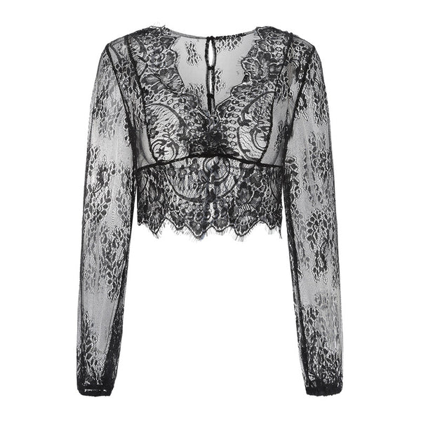 Fashion Lace Shirt Long Sleeve Perspective Top Sexy Beach