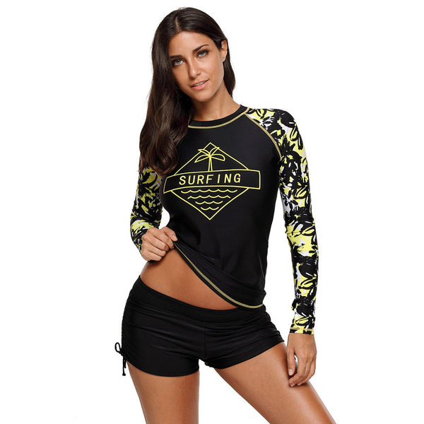 New split swimsuit printed single-piece tops large size long-sleeved swimsuit