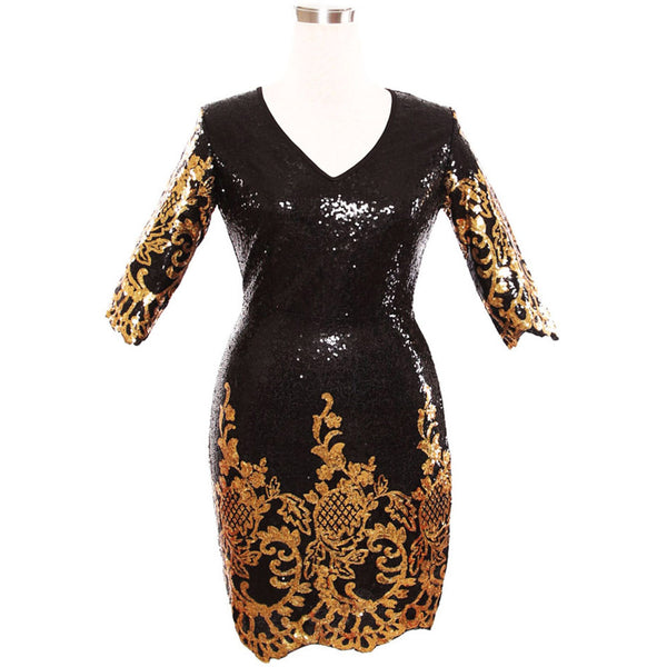 New unique sequin design round neck cropped sleeves slim hip dress