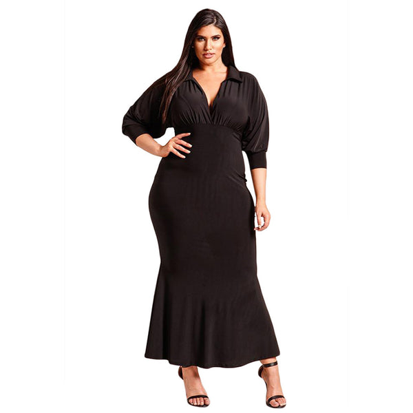 Maxi mini dress deep neck long sleeve high waist XL long dress