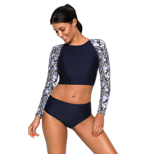 Large size swimsuit long sleeve back hollow triangle low waist split swimsuit
