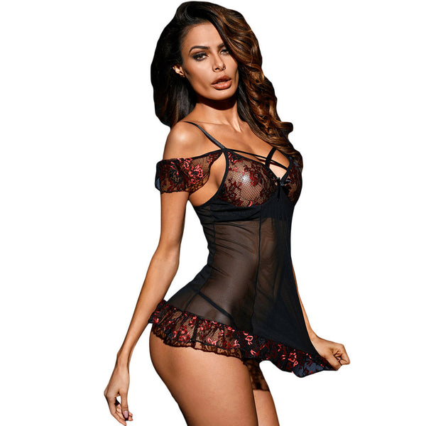New sexy bud silk mesh strap cross collar strapless short-sleeved mini sleepwear