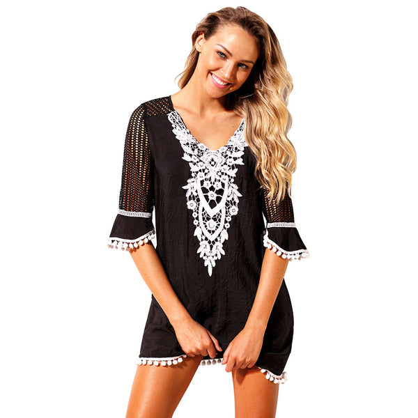 New mesh lace lace blouse five-point sleeve collar large size beach skirt